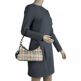 Burberry Beige Classic Check Coated Canvas Side Pocket Shoulder Bag 82231
