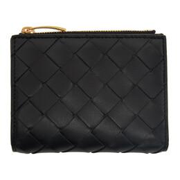 Bottega Veneta Black Intrecciato Zip Bifold Wallet 608059 VCPP3