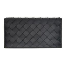 Bottega Veneta Black Intrecciato Flap Wallet 600873 VCPP3