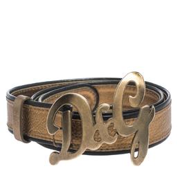 Dolce&Gabbana Metallic Gold/Black Leather D&G Logo Buckle Belt 90CM 299997