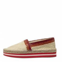 Prada Sport Cream/Red Woven Leather Espadrille Platform Flat Loafers Size 38.5 299992