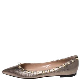 Valentino Metallic Bronze Leather Rockstud Pointed Toe Ballet Flats Size 37 300040