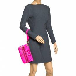 Jimmy Choo Neon Pink Leather Mave Foldover Clutch 299888