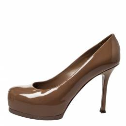 Saint Laurent Brown Patent Leather Tribtoo Platform Pumps Size 38 299974