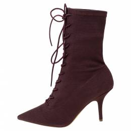 Yeezy Season 5 Burgundy Stretch Canvas Lace Up Pointed Toe Boots Size 39.5 299970