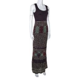 M Missoni Dark Purple Chevron Knit Sleeveless Maxi Dress S 299794