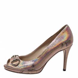 Gucci Metallic Holographic Crackle Leather New Hollywood Horsebit Peep Toe Pumps Size 37 299560