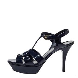 Saint Laurent Blue Patent Leather Tribute Platform Ankle Strap Sandals Size 38 299896