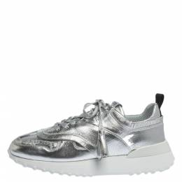 Tod's Metallic Sliver Perforated Leather Low Top Sneakers Size 39.5 299933