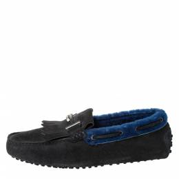 Tod's Dark Grey/Blue Suede And Shearling Trim Double T Fringe Loafers Size 41 Tod's 299935