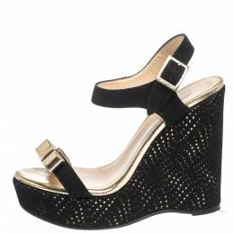 Jimmy Choo Black Perforated Suede and Gold Leather Nice Wedge Bow Sandals Size 38 299461