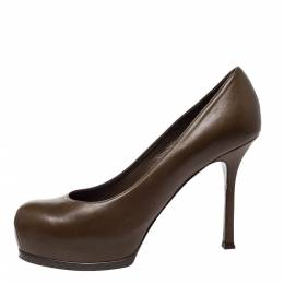 Saint Laurent Brown Leather Tribtoo Platform Pumps Size 38.5 300024