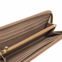Prada Nude Beige Saffiano Leather Zip Around Wallet 300021