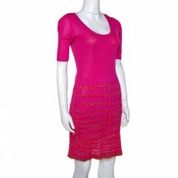 M Missoni Pink Knit Scoop Neck Skater Dress S 299641