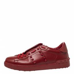 Valentino Red Leather Rockstud Untitled Rosso Low Top Sneakers Size 41 299807