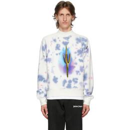 Palm Angels White Tie-Dye Cactus Sweatshirt PMBA043E20FLE0030155
