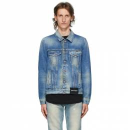 Palm Angels Blue Denim College Eagle Jacket PMYE003E20DEN0024016