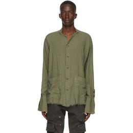 Greg Lauren Green Striped Army Shirt AM249