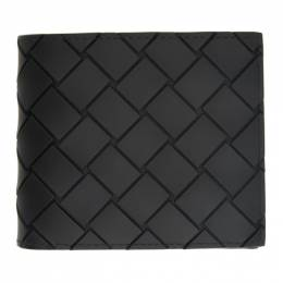 Bottega Veneta Black Rubber Intrecciato Bifold Wallet 605721 VBWL1