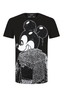 Хлопковая футболка Dom Rebel MICK/B0X T-SHIRT/H0LES