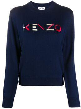 Kenzo джемпер с круглым вырезом и вышитым логотипом FA62PU5413LA