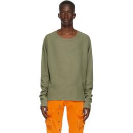 Greg Lauren Khaki Thermal Sweatshirt AM152