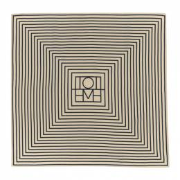 Toteme Off-White and Navy Silk San Remo Scarf 201-852-800