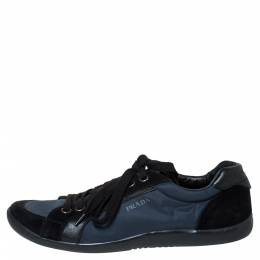 Prada Sport Blue Suede and Nylon Low Top Sneakers Size 42 300072