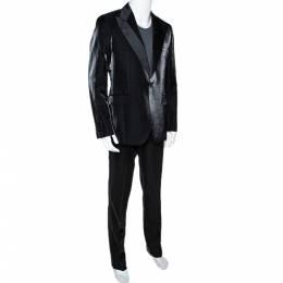 Givenchy Black Shiny Wool Tailored Tuxedo Suit XL 300248