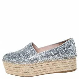 Miu Miu Silver Glitter Fabric Platform Espadrilles Size 37.5 300063