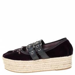 Miu Miu Purple Velvet And Black Double Leather Strap Bow Ballet Platform Espadrilles Size 38 300066