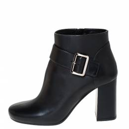 Prada Black Leather Buckle Detail Block Heel Ankle Boots Size 35.5 300272