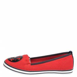 Tory Burch Red Canvas Logo Slip On Loafers Size 38 300266