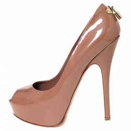 Louis Vuitton Dark Beige Patent Leather Oh Really! Peep Toe Platform Pumps Size 40.5 300043