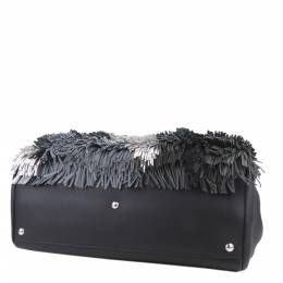 Fendi Black Leather Fringed 2Jours Bag 298689