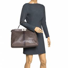 Fendi Grey Leather Large Peekaboo Top Handle Bag 299979