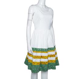 Prada White Cotton Striped Jacquard Trim Detail Flared Sleeveless Dress M 300141