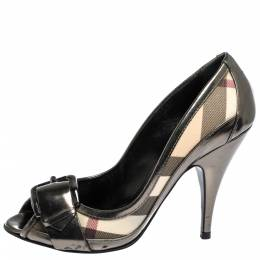 Burberry Metallic Grey Leather And House Check Canvas Buckle Peep Toe Pumps Size 37 300144