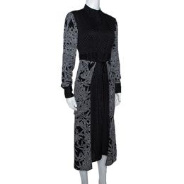 Diane Von Furstenberg Black Printed Stretch Silk Buttoned Wrap Dress XS 300161