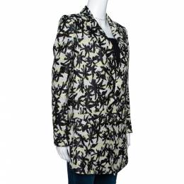 Kenzo Black Palm Jacquard Cotton Double Breasted Jacket S 300162