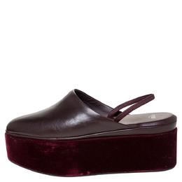 Fendi Burgundy Leather Platform Slingback Mules Sandals Size 38 300171