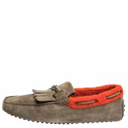 Tod's Beige/Orange Suede And Shearling Trim Double T Fringe Loafers Size 43 Tod's 299932