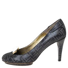 Fendi Dark Grey FF Engraved Leather Mirror Logo Embellished Platform Pumps Size 38.5 300218