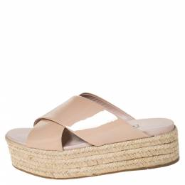 Miu Miu Beige Patent Leather Cross Strap Platform Espadrille Open Toe Sandals Size 38 300219