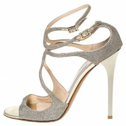 Jimmy Choo Silver Glitter Fabric Lang Ankle Strap Sandals Size 40 300215