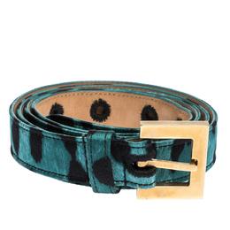 Dolce&Gabbana Green/Black Leopard Print Satin Buckle Belt 90 CM 300202
