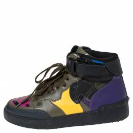 Valentino Multicolor Camoflauge Leather And Canvas High Top Sneakers Size 36 300234