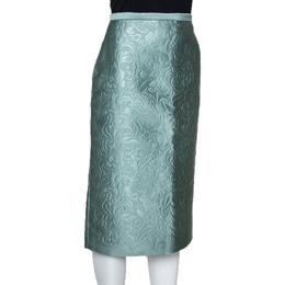 Burberry Prorsum Light Green Floral Embossed Pencil Skirt S 300223