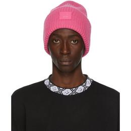 Acne Studios Pink Rib Knit Patch Beanie D40009-