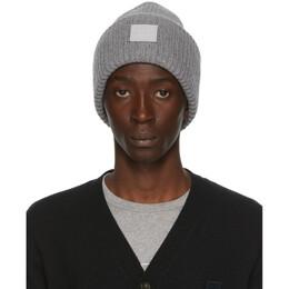 Acne Studios Grey Rib Knit Patch Beanie D40009-